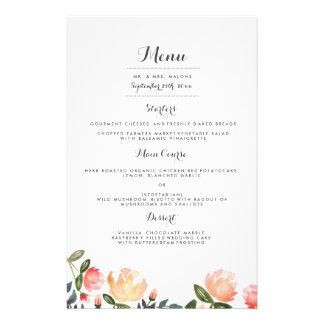 Peach Peonies Wedding Dinner Menu Full Color Flyer