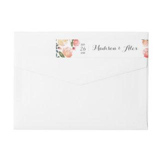Peach Peonies Wedding Wraparound Return Address Label