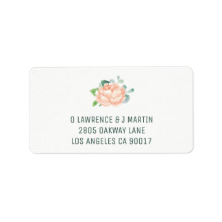 Peach Peony Address Labels