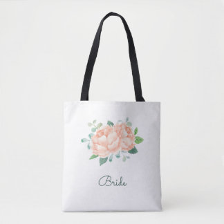 Peach Peony Flowers Bridal Tote Bag