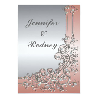 Peach Pink and Silver RSVP Wedding Invitation