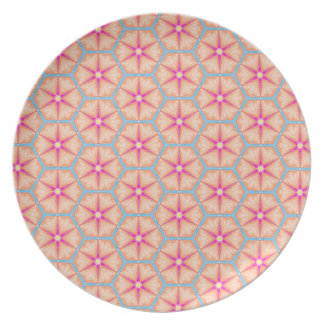 Peach Pink Blue Sugar Cookies Snowflakes Geometric Plate