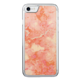 Peach Pink Cloudy Marble Stone Carved iPhone 7 Case