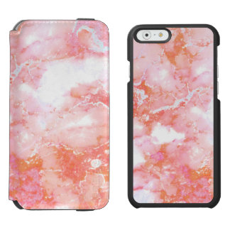 Peach Pink Cloudy Marble Stone Incipio Watson™ iPhone 6 Wallet Case