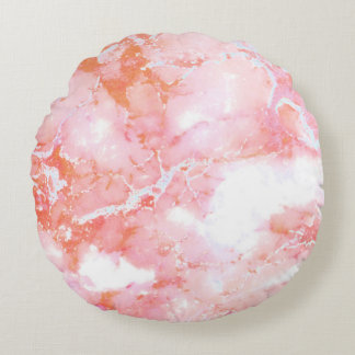 Peach Pink Cloudy Marble Stone Round Pillow