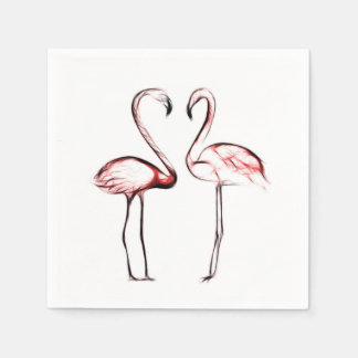 Peach Pink Flamingos Flamingo Chic Trendy Pool Paper Napkins