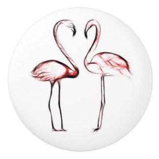 Peach Pink Flamingos Flamingo Tropical Ceramic Knob