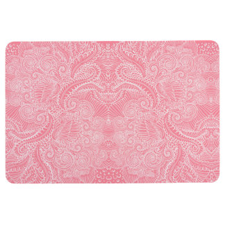 Peach Pink Floral twists Floor Mat