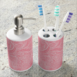 Peach Pink Floral twists Soap Dispenser And Toothbrush Holder