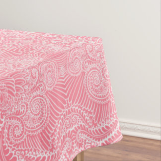 Peach Pink Floral twists Tablecloth