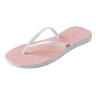 Peach Pink Geometric Line Pattern Flip Flops