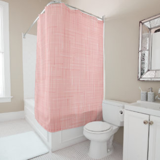 Peach Pink Geometric Line Pattern Shower Curtain