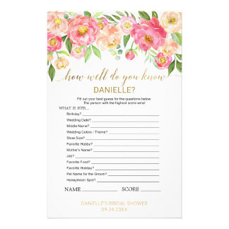 """Peach Pink """"How Well Do You Know The Bride"""" Game Flyer"""