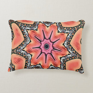 Peach Pink Kaleidoscope Funky Pattern Accent Pillow