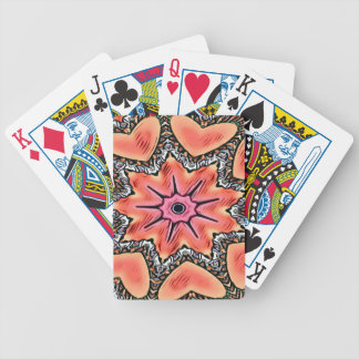 Peach Pink Kaleidoscope Funky Pattern Bicycle Playing Cards