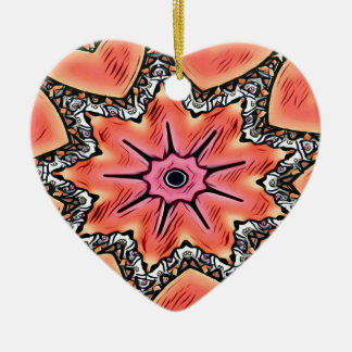 Peach Pink Kaleidoscope Funky Pattern Ceramic Ornament