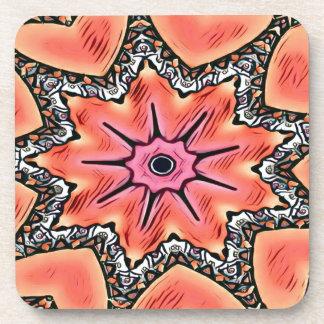 Peach Pink Kaleidoscope Funky Pattern Coaster