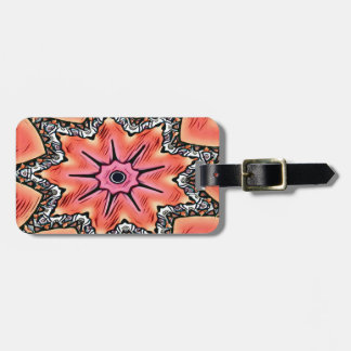Peach Pink Kaleidoscope Funky Pattern Luggage Tag