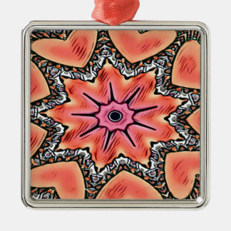 Peach Pink Kaleidoscope Funky Pattern Metal Ornament