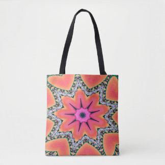 Peach Pink Kaleidoscope Funky Pattern Tote Bag