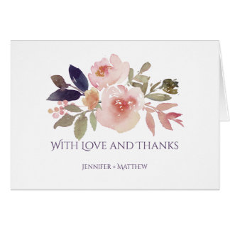 Peach Pink Lavender Purple Wildflowers Thank You Card