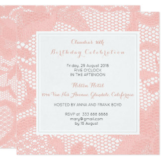 Peach Pink Pastel White Lace Birthday Party Card