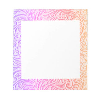 Peach Pink Purple Vintage Floral Scrollwork Notepad