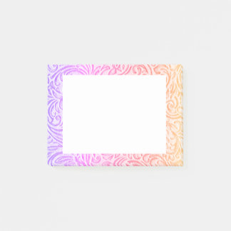 Peach Pink Purple Vintage Floral Scrollwork Post-it Notes