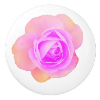 Peach Pink Rose Ceramic Knob