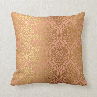 Peach Pink Rose Gold Damask Royal Luxury Decor Throw Pillow