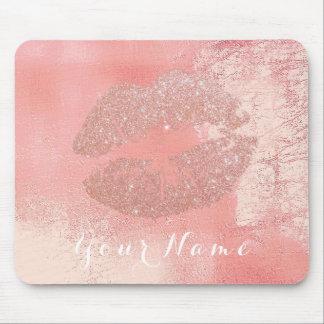 Peach Pink Rose Metallic Name Makeup Lips Kiss Mouse Pad