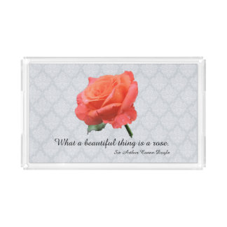 Peach Pink Rose with Raindrops on Lacy Background Acrylic Tray