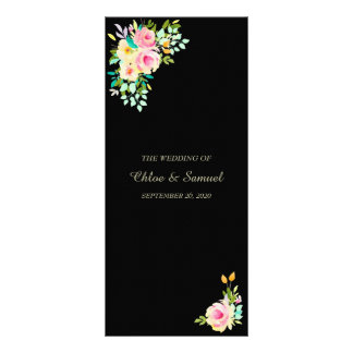 Peach Pink Roses on Black Wedding Program Rack Card
