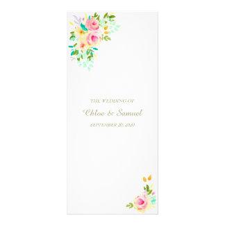 Peach Pink Roses on White Wedding Program Full Color Rack Card