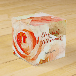Peach Pink Roses with Modern Script Names Favor Boxes