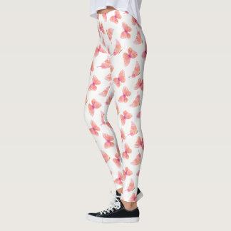 Peach & Pink Watercolor Butterflies Leggings