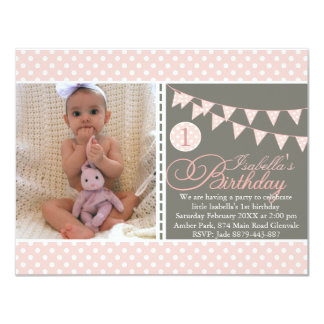 Peach Polka Dot Bunting First Birthday Invite