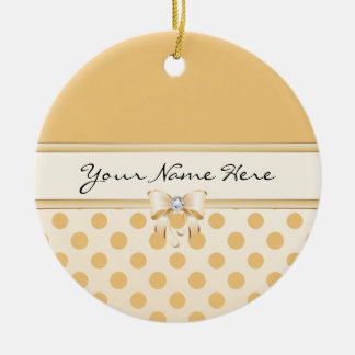 Peach Polka Dot & Faux Diamond Bow Ceramic Ornament