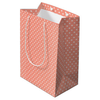 Peach Polka Dots Pattern Medium Gift Bag