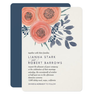 Peach Poppies Modern Floral Wedding Card