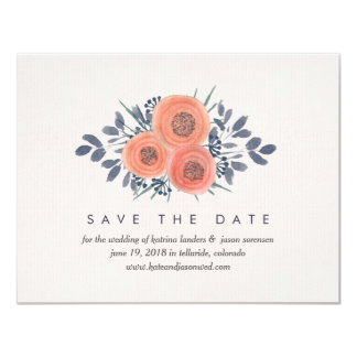 "Peach Poppies Save the Date Cards w/ Photo Backer 4.25"" X 5.5"" Invitation Card"