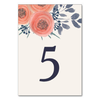Peach Poppies Table Number Table Card