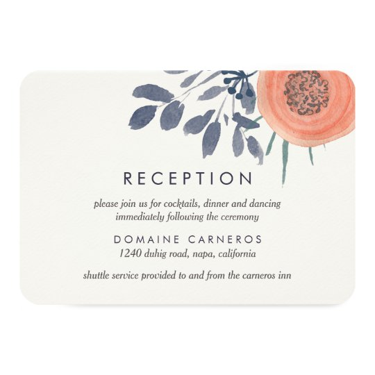 Peach Poppies Wedding Reception Card
