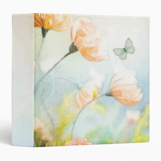 Peach Poppy Meadow 3 Ring Binders