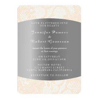 Peach Powder Lace Silver Wedding Royal Invitation