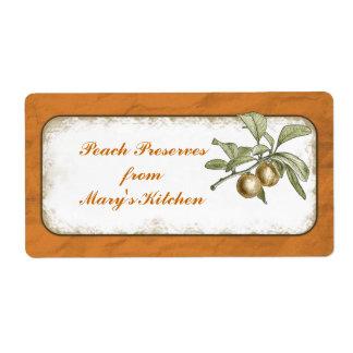 Peach Preserves Food Storage Botanical Custom Shipping Label