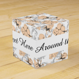 Peach Puff and Gray Vintage Floral Pattern Favor Box