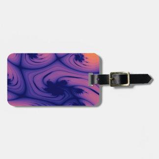 Peach Purple Leafy Pond Fractal Luggage Tag
