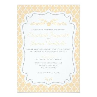 Peach Quatrefoil Wedding Invitations
