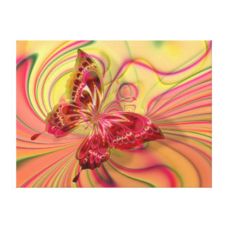 peach red butterfly wrapped canvas